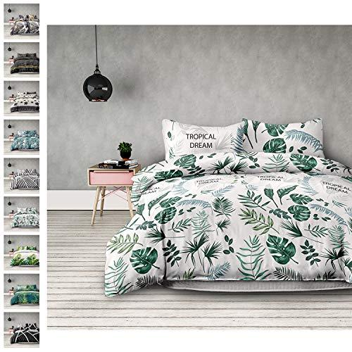 AmeliaHome 01094 2tlg Bettwäsche 135x200 cm mit 1 Kissenbezug 80x80 cm 100% Baumwolle Reißverschluss Monstera weiß grün Averi Botanique - Baumwolle Blatt