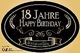 """""""18 Jahre - Happy Birthday"""" Aufkleber Flaschenetikett Etikett 18 Geburtstag oval gold elegant"""