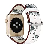 38 mm/42 mm Apple Watch Band, Efanr floreale stampato in vera pelle Watch Band con fibbia sostituzione cinghia da polso regolabile classico braccialetto per Apple Watch Series 2 Series 1