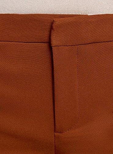 oodji Ultra Damen Enge Hose mit Zierreißverschlüssen Braun (3700N)