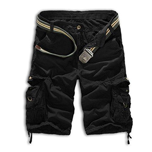 Herren Cargo Shorts Bermuda Hose Urban Vintage Legend Kurze 3/4 Sommer Airborne Knielänge Outdoor 32 Schwarz