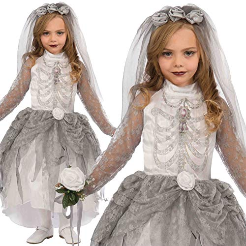 B-Creative Kids Girls Gothic Ghost Zombie Skelett Braut Kostüm Fancy Kleid Halloween New Premium UK Outfit (Große)