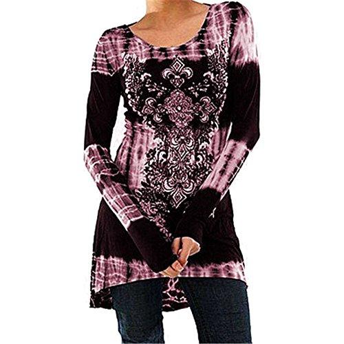 Mxssi Blusas Tallas Grandes Camisetas Góticas Vestidos Vintage Impreso Jersey Largo Cuello Redondo Blusas Manga Larga Blusas Largas Vestidos A-Línea Camisetas Trabajo S M L XL 2XL 3XL 4XL 5XL