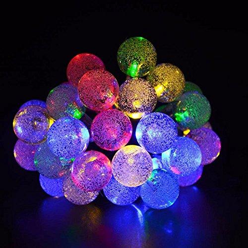6M 30 LED Kristallkugeln Solarleuchten, Wasserdicht Outdoor LED Lichter , Solar String Lights als Innen- und Außenbeleuchtung Garten, Party, Weihnachten Dekoration (farbig)
