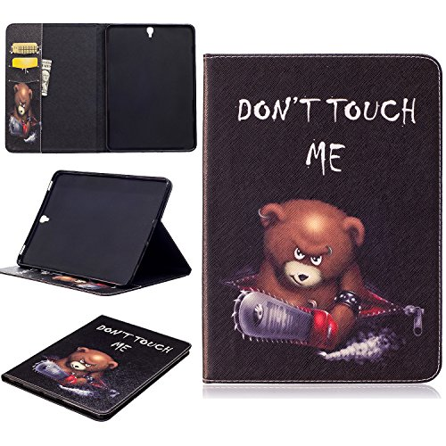 Galaxy S3Fall, jeccy Ständer Funktion Ultra Slim Book Folio Stil Druck PU Leder Schutzhülle mit Kredit/Id Card Slot für Samsung Galaxy Tab S39,7Zoll Tablet W/S Pen sm-t820/sm-825 Saw Bear (Sprint Nexus S)