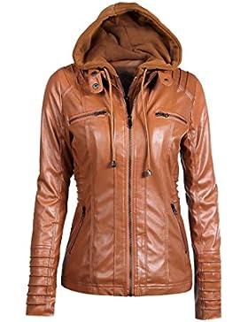 Donna Slim Hooded Giacca Cappotto Tre Colori Cappotto Bavero Sfoderabile Zipper Top di Kangrunmy