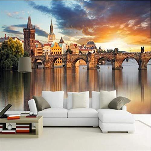 XXPFF Benutzerdefinierte Tapete 3D Fototapete Schöne Europäische Architektur Hintergrund Wand Waterfront Stadt Landschaft 3D Wallpaper , 400Cm (W) X 250Cm (H)