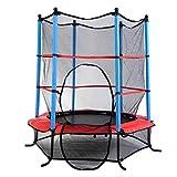 IRIS 60 Inch Round Kids Mini Trampoline w/ Enclosure Net Pad Rebounder Outdoor Exercise