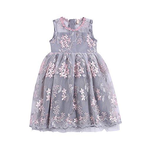 XIAOHUAHUA Big Boy Mädchen Sommer Geblümten Kleid Stickerei Gaze Rock Kinder Kleid Prinzessin Kleid, Grau, 120 Cm (Gaze-big-shirt)