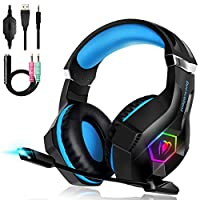 Beexcellent Gaming Headset for PC/PS4/XboxOne/Headphone With Mic Control Volume 3.5mm Jack Noise Reduction Stereo Sound Soft Earmuffs LED Lights Vary In Color