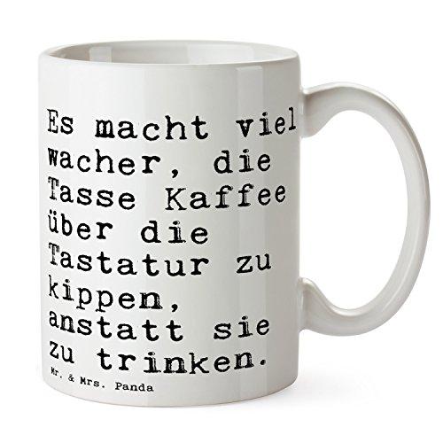 """Mr. & Mrs. Panda Tasse mit Spruch """"Es macht viel wacher, die Tasse Kaffee über die Tastatur zu kippen, anstatt sie zu trinken."""" - 100% handmade aus Keramik - Tasse, Tassen, Becher, Kaffeetasse, Kaffee, Geschenkidee, Geschenk, Tee, Teetasse, Tee, Cup, Schenken, Frühstück Büro, Kollege, Kollegin, Kaffee, PC, Computer, Tastatur, Chef, Chefin Spruch Sprüche Lustig Spass Geschenk Geschenkidee Zitate"""