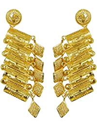 18K Gold Plated Earrings Set Indian Traditional Party Wear Dangle Drop Earrings Gift For Her