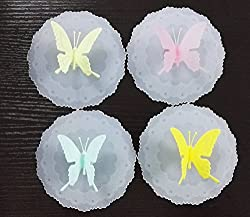 Rimobul Lovely Butterfly Leakproof Silicone Cup Lid Cover, Set of 4 (Butterfly) by Rimobul