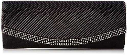 Berydale Damen Satin Handtasche mit Strassbesatz, Clutch Schultertasche mit Zusatzkette und Magnetverschluss, Schwarz