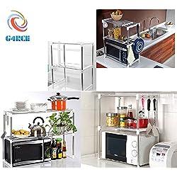 G4RCE Estante multifunción doble para horno microondas, organizador, módulo de almacenamiento con gancho, mantiene la cocina ordenada