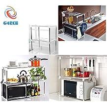g4rce New multifunción Horno Microondas estante doble Side unidad de almacenamiento de organizador rack con gancho para colgar Mantén tu cocina UK