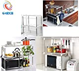 G4RCE New Multi-function Double Microwave Oven Stand Shelf Side Organizer Storage Unit Rack With Hanging Hook Keep Your Kitchen Tidy UK