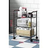 YXLYLL Wand Kuchenregal,Küchenregal-Korb, dreistufiges Boden-Lagerregal mit Küchen-Schlafzimmer-Nachttisch-Gestell-Wagen-Rad-Boden-Lagerregal-Bronze
