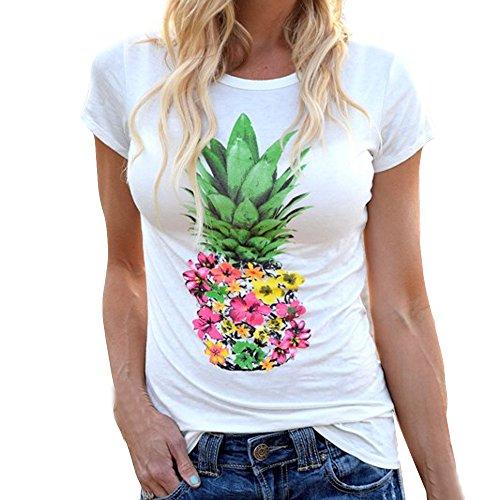 T Shirt Damen Sommer Kurzarm Gestreift Rundhals Große Größen Bluse Top Oberteil T-Shirt Weihnachten Jahr ()