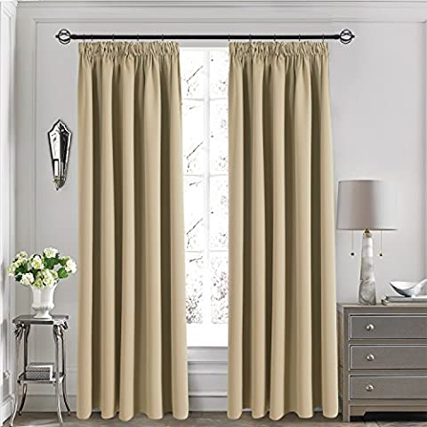 Blackout Pencil Pleat Windows Curtains - Aquazolax Readymade Thermal Insulated