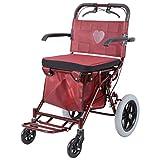 Trolley peut s'asseoir portable quadruple à quatre roues pliant shopping cart vieil homme panier d'achat Forte capacité portante (Couleur : Red)