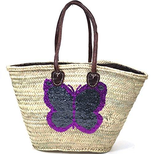 FISH IN THE SEA Korbtasche Strandtasche Schmetterling Grau Boho Ibiza Lederhenkel Butterfly Paillette (Ovale Palmenblatt)
