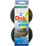 3 Packs of 2 Dishmatic Steel Scourer Refill Heads for cleaning BBQ's, Hot Plates, Steel Pots & Pans (6 in total) by Caraselle