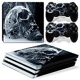 Skins4u® Sony Playstation 4 PRO Skin Fantasy Skull & Drachen Horror Designs Premium Vinyl Schutzfolie Aufkleber inkl. 2 PS4 Controller Sticker Smoking Skull