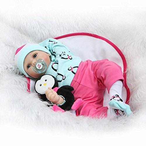 Nicery Reborn Baby Doll Renacer Bebé la Muñeca Vinilo Simulación Silicona Suave 22 pulgadas 55cm Boca Magnética Natural Niña Niño Juguete Boy Girl RD55C180