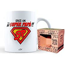 Mr Cool Taza en Caja Regalo en Mensaje Eres un Super Papá, Cerámica, 15x10x5