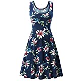 OYSOHE Women Sleeveless Printing Summer Beach A Line Casual Dress Floral Dress