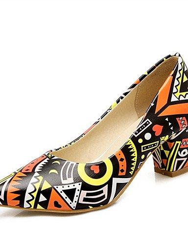 WSS 2016 Chaussures Femme-Mariage / Habillé / Décontracté / Soirée & Evénement-Bleu / Jaune / Violet-Gros Talon-Talons-Talons-Matières purple-us5 / eu35 / uk3 / cn34