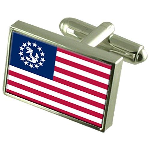 Yachtcharter, der Stern der USA-Flagge Manschettenknöpfe