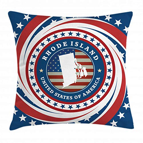HLKPE Rhode Island Throw Pillow Cushion Cover, United States of America Text with The Flag and Swirled Stars, Decorative Square Accent Pillow Case, Ruby White and Night Blue,26 X 26 Inches Kings Crown Ruby