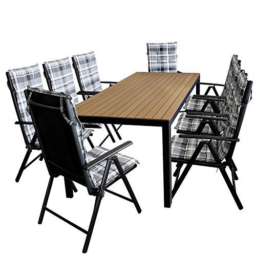 17tlg. Gartengarnitur Gartentisch, Aluminium, Polywood Tischplatte schwarz, 205x90cm + 8x Hochlehner, 2x2 Textilenbespannung, Lehne 7-fach verstellbar + 8x Stuhlauflage / Terrassenmöbel Gartenmöbel Set Sitzgarnitur
