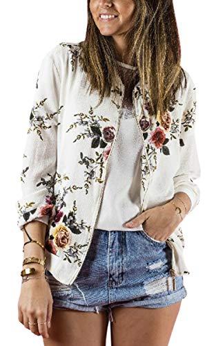 ECOWISH Damen Casual Jacke Blumenmuster Langarm Bomberjacke Reißverschluss Stehkragen Outwear Kurz Coat Herbst Frühling Weiß XL