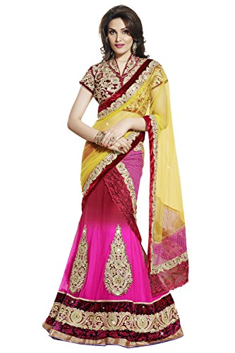 Viva N Diva Pink And Red Color Chiffon And Inner Satin Lehenga.saree embroidered designer  available at amazon for Rs.2799