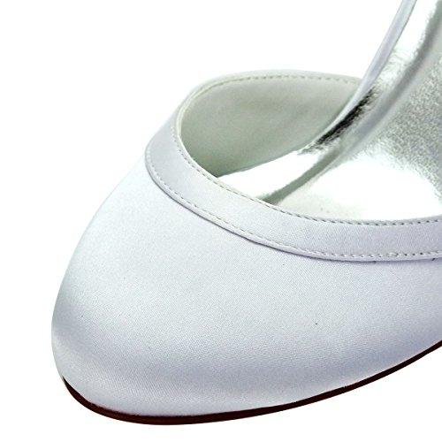 ElegantPark HC1509 Scarpe da sposa con tacco scarpe chiuse donna Bianco