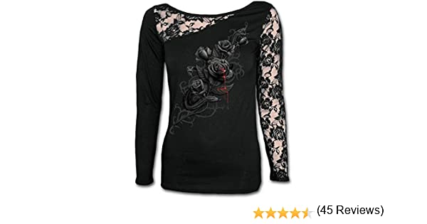 Lace One Shoulder Top Black Maglia a Maniche Lunghe Donna Spiral Direct Fatal Attraction