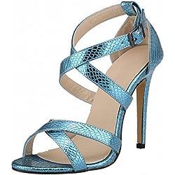 Zhuhaixmy Sommer New Frau Krokodil Muster High Heels Stilettos Sandalen Peep Toe Schuhe