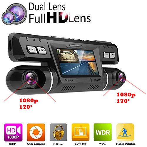 PolarLander WiFi Auto DVR Video Fahrzeug Dash Kamera Recorder Novatek 96660 Dashcam Dual Objektiv Full HD 1080P 170 Grad Black Box Dashboard Mit GPS Logger (Fahrzeug-video-recorder)