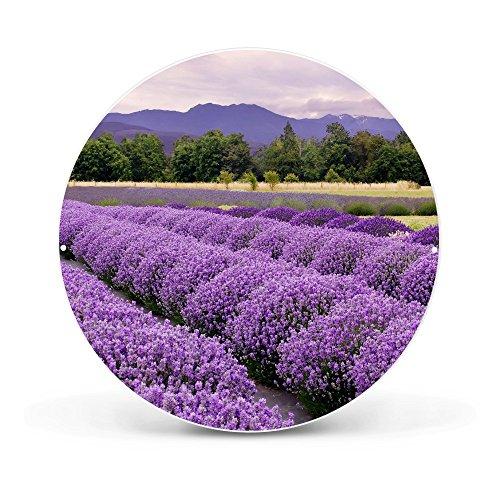 banjado - Magnettafel rund 47cm Ø aus Stahl schwarz oder weiß lackiert mit Motiv Lavendel, Magnettafel rund weiß