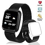 Polywell Fitness Armbanduhr, Fitness Tracker, Bluetooth Sportuhr Aktivitätstracker Schrittzähler, [2 x Replaceable Watch Strap]