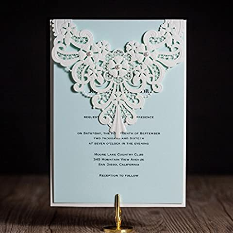 Wishmade Wedding Invitations Cards Sets of 50PCS White Lace Style Laser Cut Engagement for Party Birthday Graduation