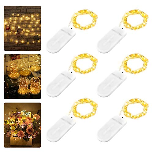 6 Stück LED Lichterkette Batterie, Nasharia 2M 20er LED Kupfer Drahtlichterkette Lichterkette Batteriebetrieben IP65 Wasserfest Fairy Light für Party Garten Weihnachten Hochzeit, Warmweiß