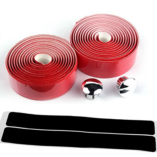 kiivi-durable-wave-texture-handlebar-tape-wrap-cycling-road-bike-sports-antiskid-with-end-plugs-red