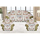 Luxury Crafts 5 Seater Sofa and Chair Cover with 6 Pcs arms(Net Sofa Cover Set -12 Pieces) (Off White)