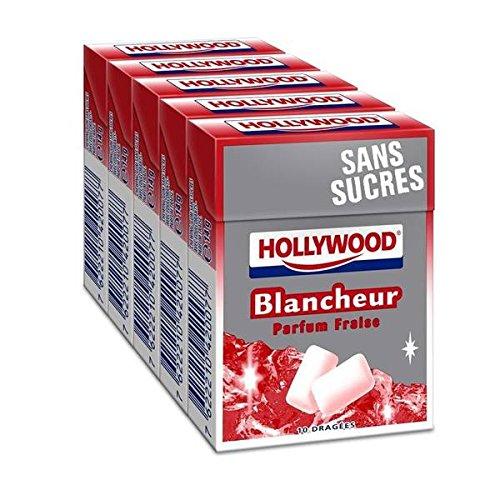 Hollywood blancheur fraise sans sucres 5 étui de 10 dragées 70g - ( Prix Unitaire ) - Envoi Rapide Et Soignée