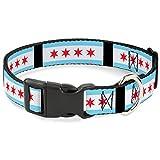Buckle Down 27,9–43,2cm Chicago Flaggen/schwarz Kunststoff Clip Kragen, Medium