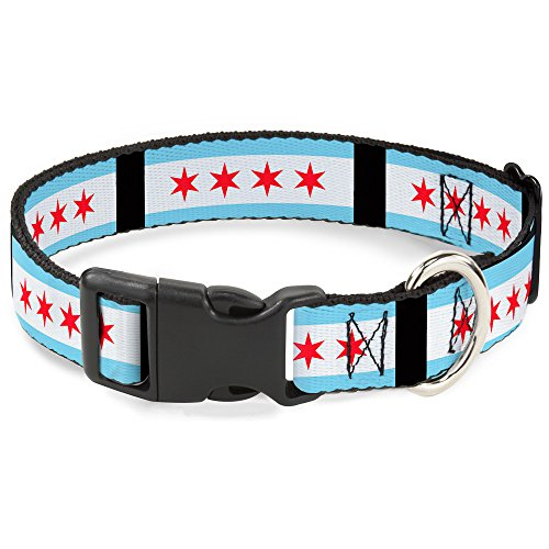 Buckle Down 40,6-58,4 cm Chicago Flaggen/schwarz Kunststoff Clip Halsband, breit Medium